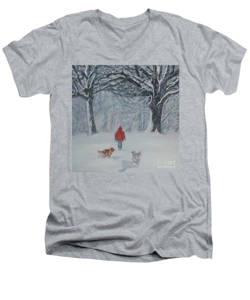 Golden Retriever Winter Walk Men's V-Neck T-Shirt