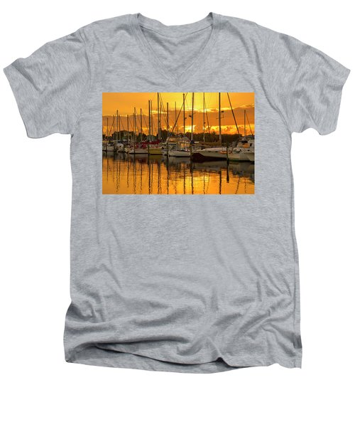 Golden Sailboat Sunrise Over Stuart Marina, Florida Men's V-Neck T-Shirt