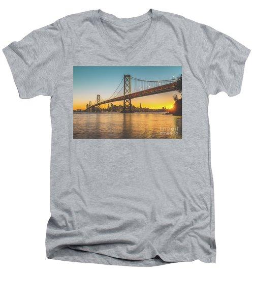 Golden San Francisco Men's V-Neck T-Shirt by JR Photography