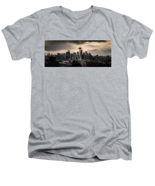 Men's V-Neck T-Shirt featuring the photograph Golden Seattle by Chris McKenna