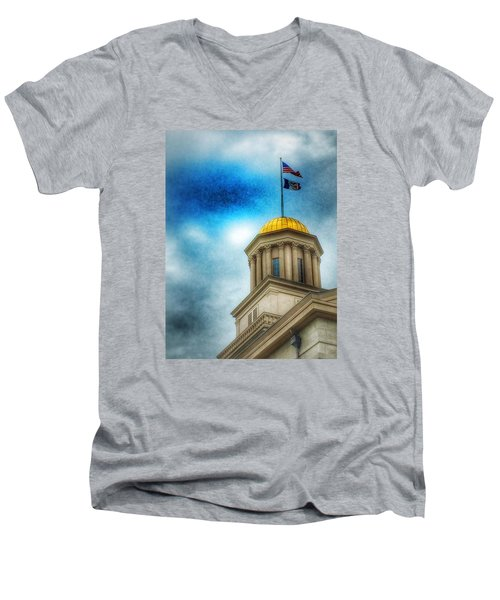 Men's V-Neck T-Shirt featuring the photograph Golden Shine by Jame Hayes