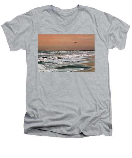 Men's V-Neck T-Shirt featuring the photograph Golden Shore by Steve Karol