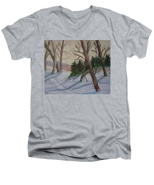 Golden Sky In The Snow Men's V-Neck T-Shirt