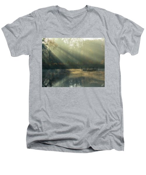 Men's V-Neck T-Shirt featuring the photograph Golden Sun Rays by George Randy Bass