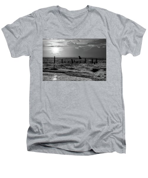 Men's V-Neck T-Shirt featuring the photograph Golden Sunrise On The Outer Banks  Bw by Dan Carmichael
