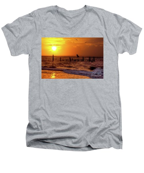 Golden Sunrise On The Outer Banks Men's V-Neck T-Shirt by Dan Carmichael