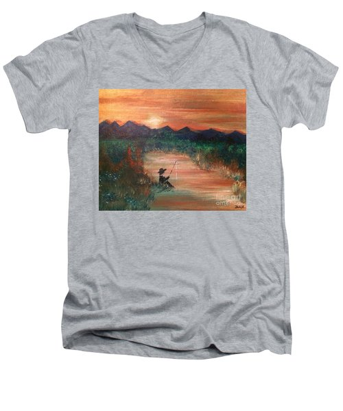 Men's V-Neck T-Shirt featuring the painting Golden Sunset by Denise Tomasura