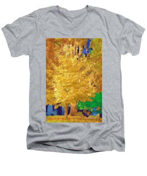Men's V-Neck T-Shirt featuring the photograph Golden Tree by Donna Bentley