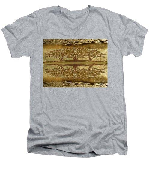 Golden Trees Reflection Men's V-Neck T-Shirt