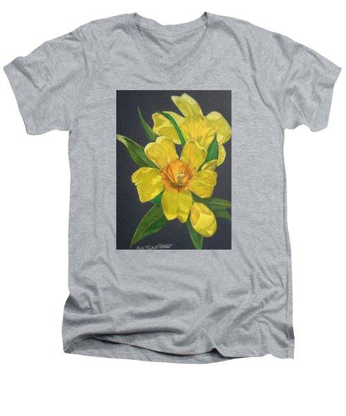 Golden Trumpet Flower - Allamanda Vine Men's V-Neck T-Shirt by Anita Putman