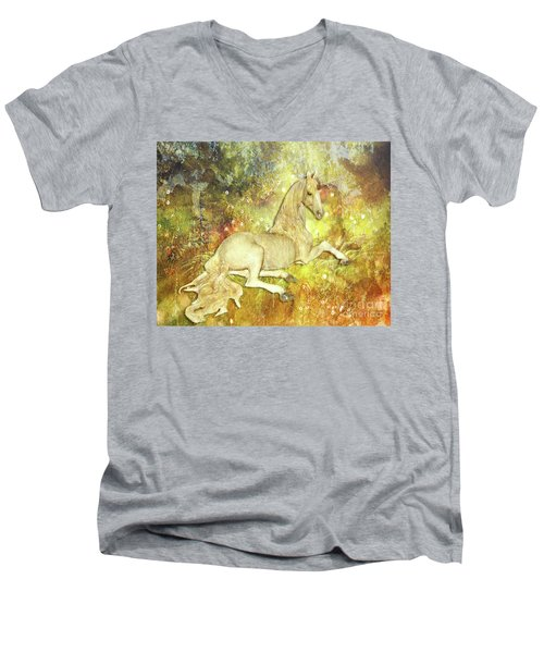 Golden Unicorn Dreams Men's V-Neck T-Shirt