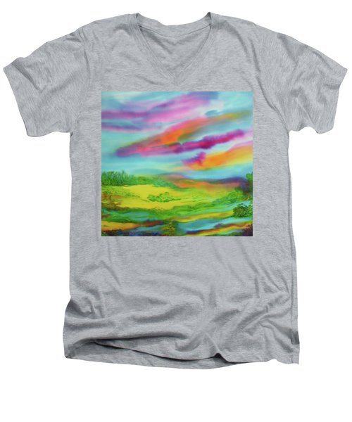 Men's V-Neck T-Shirt featuring the painting Escape From Reality by Susan D Moody