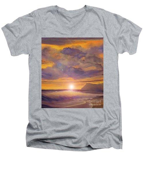 Golden Wave Men's V-Neck T-Shirt by Holly Martinson