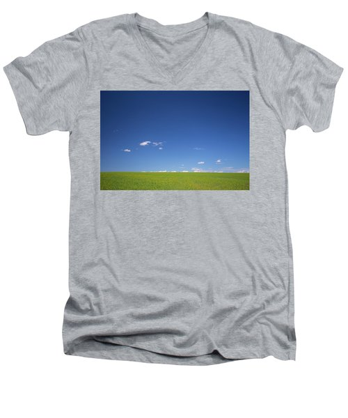 Men's V-Neck T-Shirt featuring the photograph Golden Yellow Of Big Wheat Field,meadows And Closeup Seed With B by Jingjits Photography