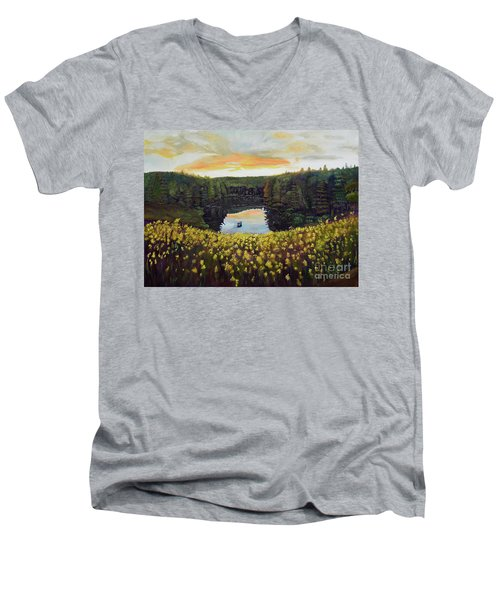Goldenrods On Davenport Lake-ellijay, Ga  Men's V-Neck T-Shirt