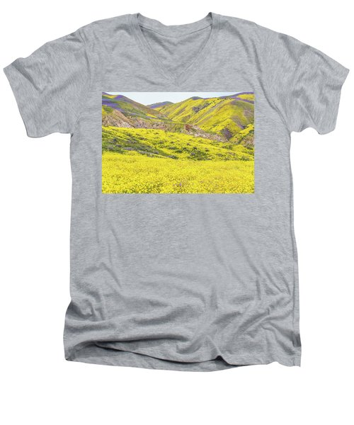 Men's V-Neck T-Shirt featuring the photograph Goldfields And Temblor Hills by Marc Crumpler