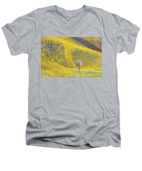 Goldfields And Windmill At Carrizo Plain  Men's V-Neck T-Shirt by Marc Crumpler