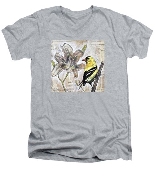 Men's V-Neck T-Shirt featuring the painting Goldfinch And Lily by Sheri Howe
