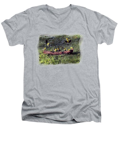 Men's V-Neck T-Shirt featuring the photograph Goldfinch Convention by Nick Kloepping