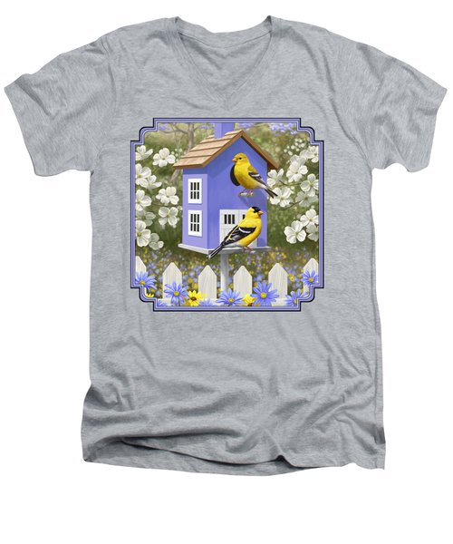 Goldfinch Garden Home Men's V-Neck T-Shirt by Crista Forest