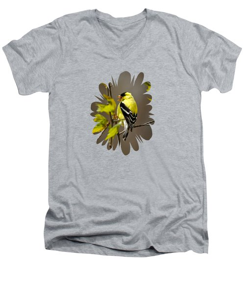 Men's V-Neck T-Shirt featuring the photograph Goldfinch Suspended In Song by Christina Rollo