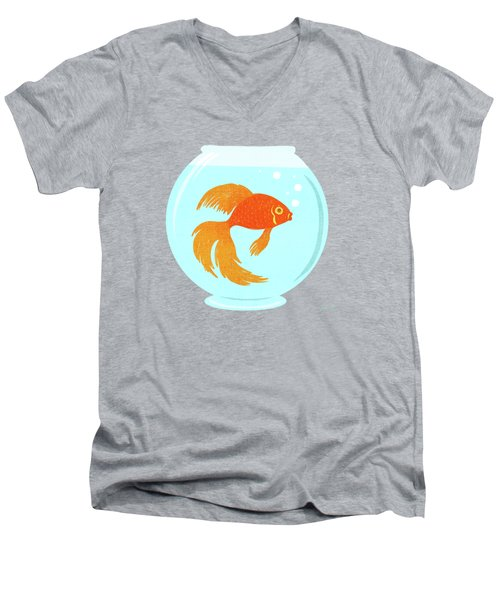 Goldfish Fishbowl Men's V-Neck T-Shirt by Little Bunny Sunshine