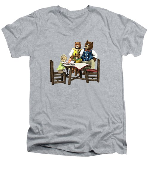 Men's V-Neck T-Shirt featuring the painting Goldilocks N The 3 Bears by Methune Hively