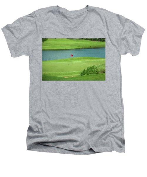 Golf Approaching The Green Men's V-Neck T-Shirt by Chris Flees