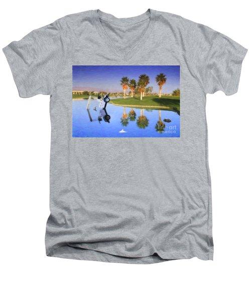 Men's V-Neck T-Shirt featuring the photograph Golf Cart Stuck In Water by David Zanzinger