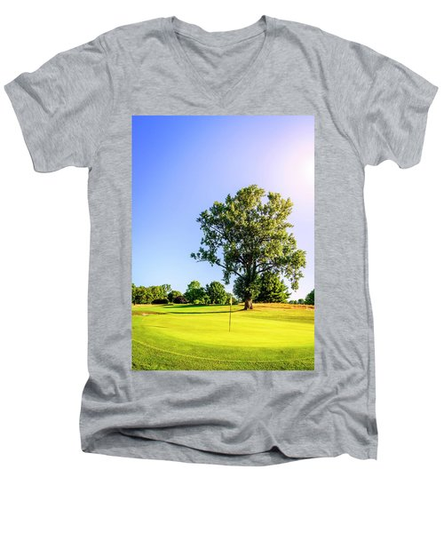 Men's V-Neck T-Shirt featuring the photograph Golf Course by Alexey Stiop