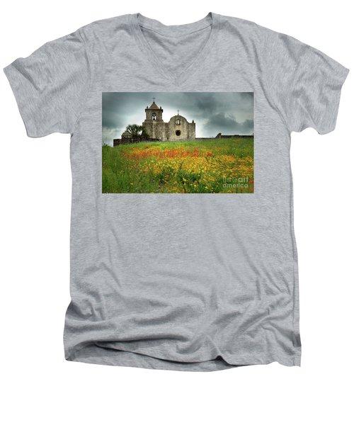 Goliad In Spring Men's V-Neck T-Shirt by Jon Holiday