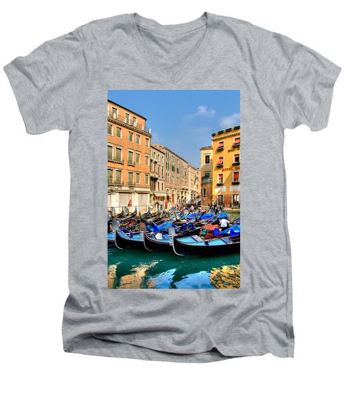 Gondolas In The Square Men's V-Neck T-Shirt by Peter Tellone