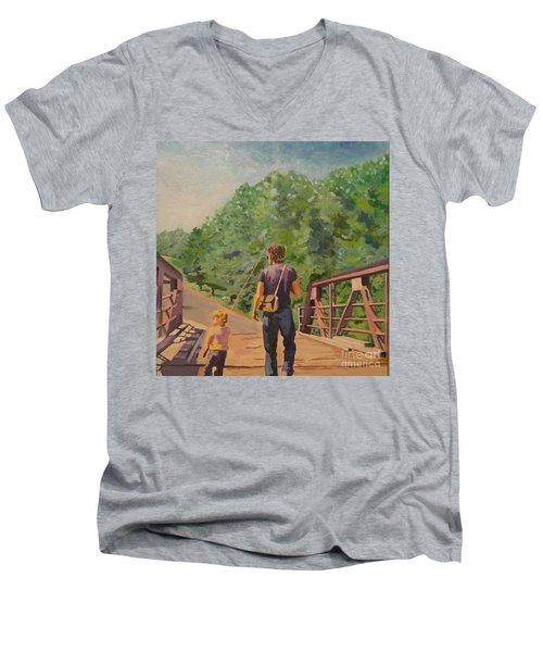 Gone Fishing With Dad Men's V-Neck T-Shirt