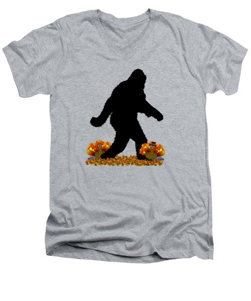 Gone Thanksgiving Squatchin' Men's V-Neck T-Shirt by Gravityx9   Designs
