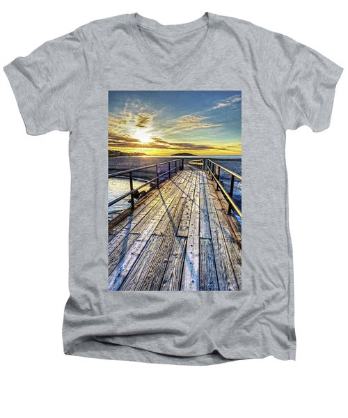 Good Harbor Beach Footbridge Shadows Men's V-Neck T-Shirt