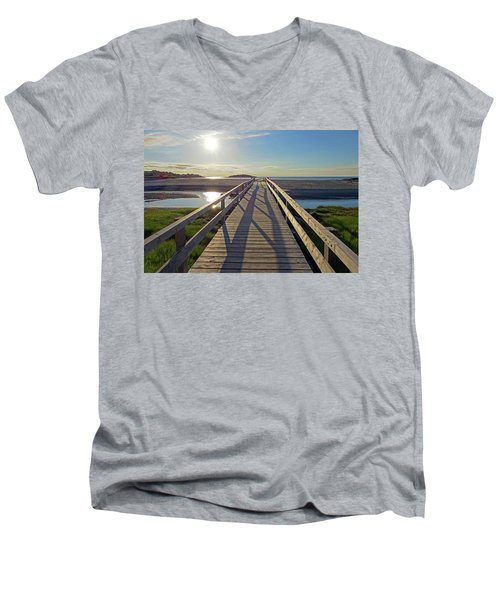 Good Harbor Beach Footbridge Sunny Shadow Men's V-Neck T-Shirt