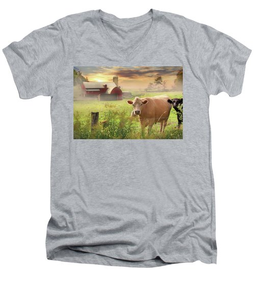 Men's V-Neck T-Shirt featuring the photograph Good Morning by Lori Deiter