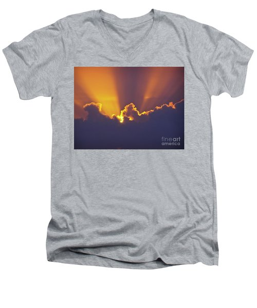 Men's V-Neck T-Shirt featuring the photograph Good Night Sunshine by Terri Waters