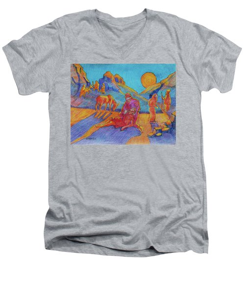 Men's V-Neck T-Shirt featuring the painting Good Samaritan Parable Painting Bertram Poole by Thomas Bertram POOLE