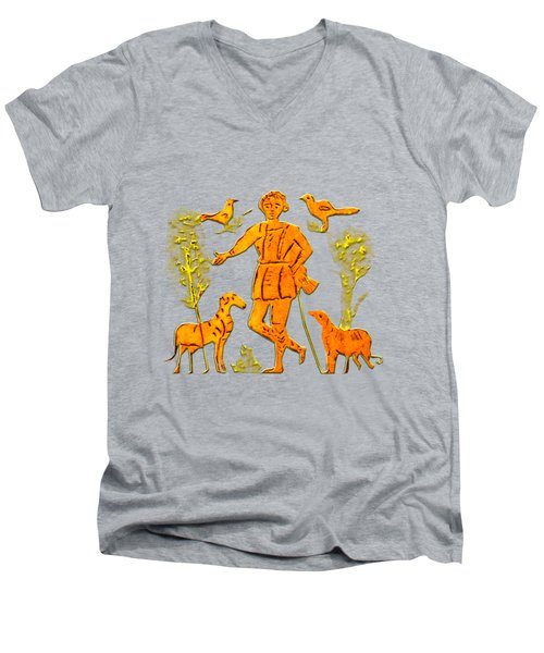 Good Shepherd Men's V-Neck T-Shirt by Asok Mukhopadhyay