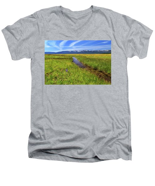 Men's V-Neck T-Shirt featuring the photograph Goodrich Creek by James Eddy