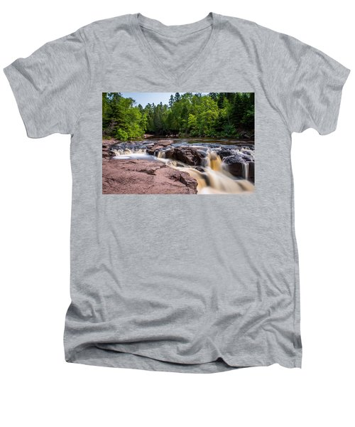 Goose Berry River Rapids Men's V-Neck T-Shirt by Paul Freidlund