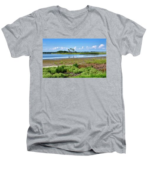 Men's V-Neck T-Shirt featuring the photograph Gordons Pond At Cape Henlopen State Park - Delaware by Brendan Reals