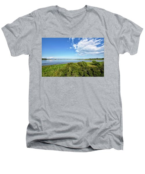 Men's V-Neck T-Shirt featuring the photograph Gordons Pond Overlook - Cape Henlopen State Park - Delaware by Brendan Reals