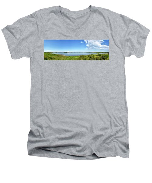Men's V-Neck T-Shirt featuring the photograph Gordons Pond Panorama - Cape Henlopen State Park - Delaware by Brendan Reals