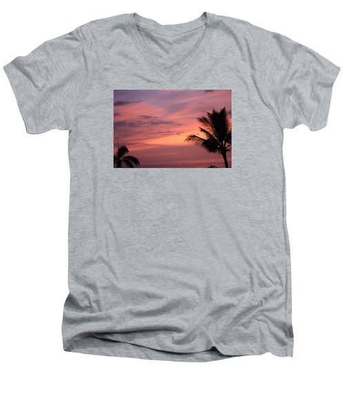 Men's V-Neck T-Shirt featuring the photograph Gorgeous Hawaiian Sunset - 3 by Karen Nicholson