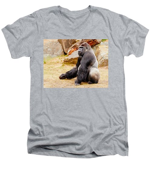 Gorilla Sitting Upright Men's V-Neck T-Shirt