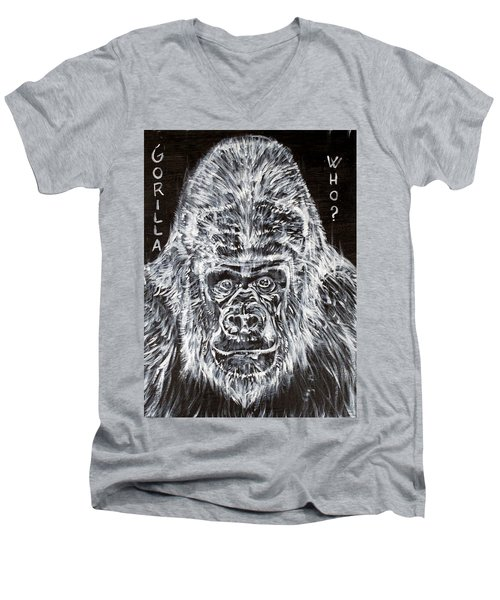 Men's V-Neck T-Shirt featuring the painting Gorilla Who? by Fabrizio Cassetta