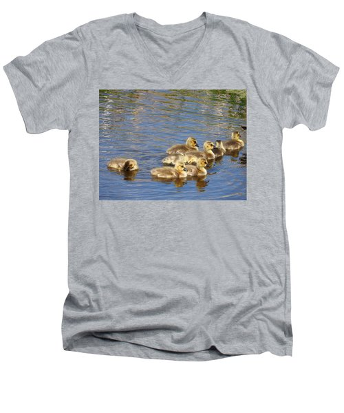 Men's V-Neck T-Shirt featuring the photograph Goslings N0.6336 by Janice Adomeit
