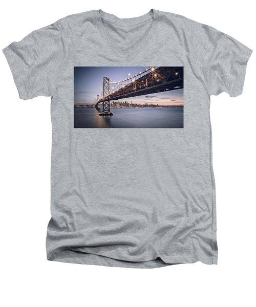 Gotham City Men's V-Neck T-Shirt by Eduard Moldoveanu